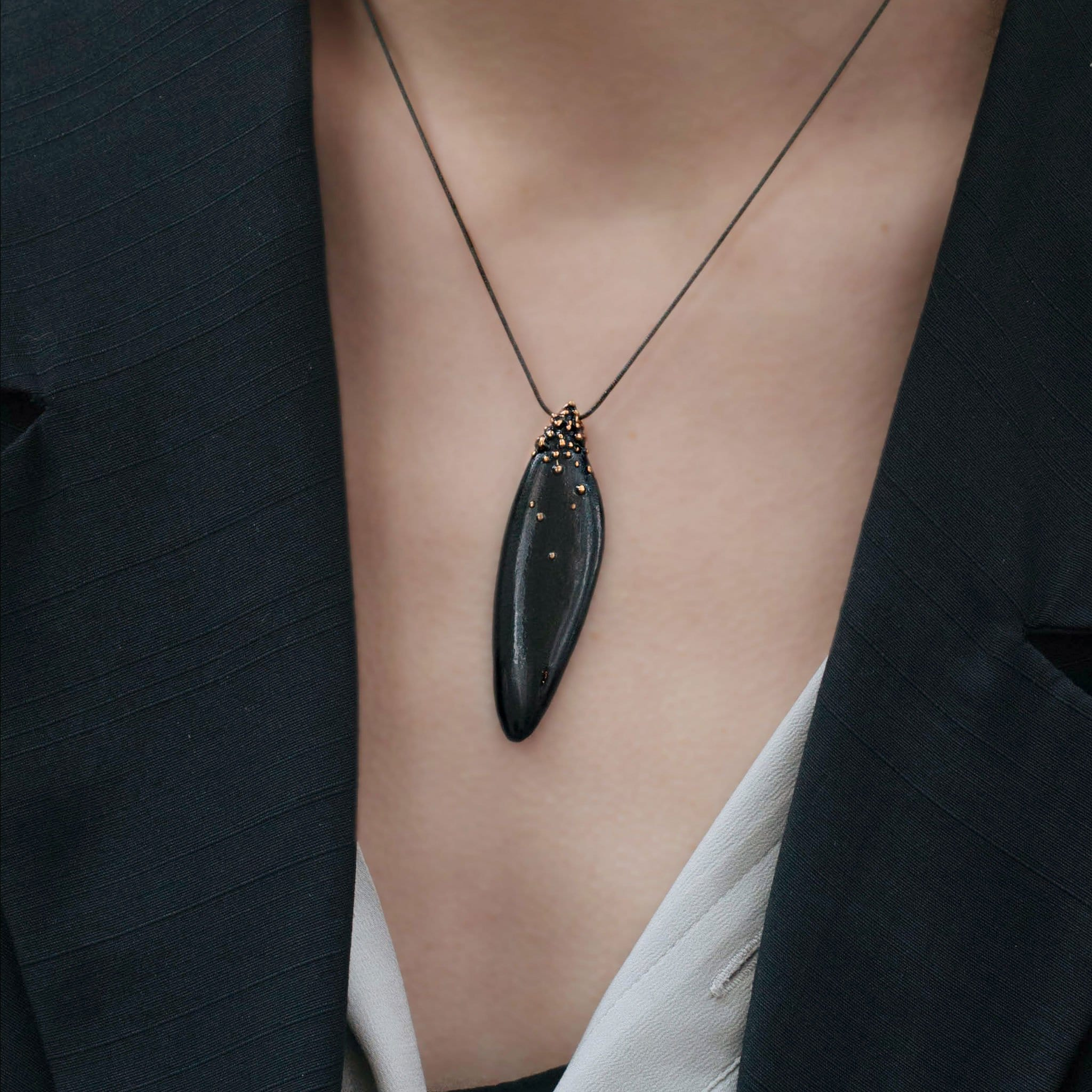 Black Salvia Bronze Necklace - Julie Cohn Design