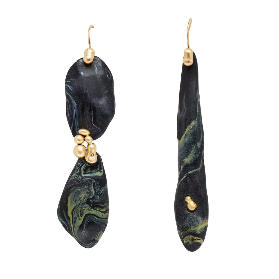 LAVA PEBBLE CLAY BRONZE EARRINGS JCE341 Julie Cohn Design Artisan Bronze Jewelry Handmade