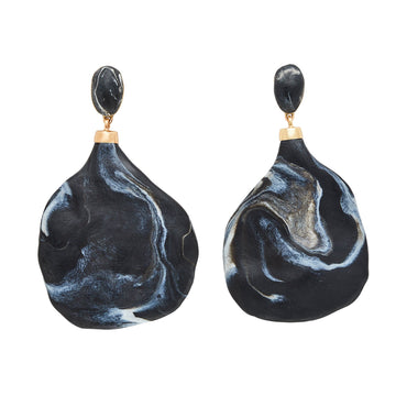 PENDULUM BLACK CLAY BRONZE EARRINGS JCE345 Julie Cohn Design Artisan Bronze Jewelry Handmade