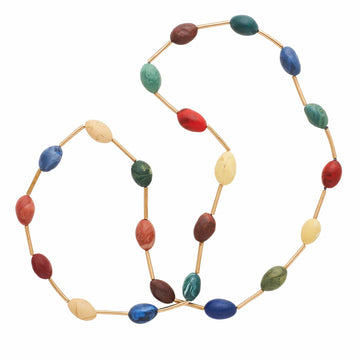 Julie Cohn Design Spectrum Multi Color Clay Egg Bronze Necklace