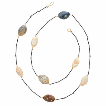 Julie Cohn Design River Stone Clay Mixed Metal Bronze Sterling Necklace