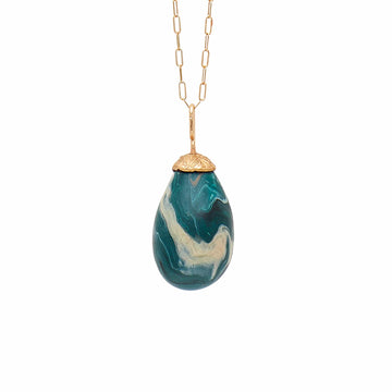 Julie Cohn Design Malachite Clay Egg Bronze Pendant Necklace