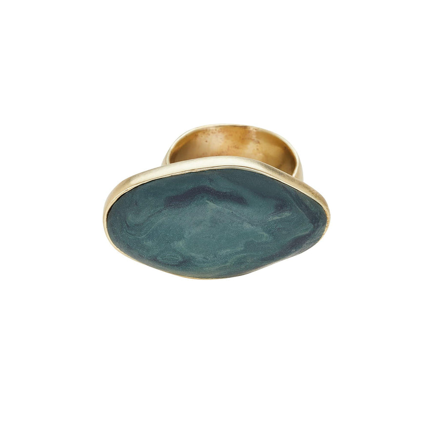 Roman Bronze Malachite Clay Ring JCR147 Julie Cohn Design Artisan Bronze Jewelry Handmade