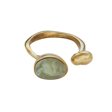 Island Bronze Moss Clay Ring JCR150 Julie Cohn Design Artisan Bronze Jewelry Handmade