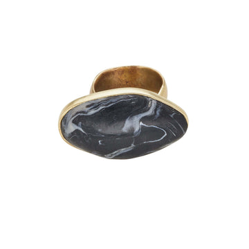 Roman Bronze Basalt Clay Ring JCR154 Julie Cohn Design Artisan Bronze Jewelry Handmade