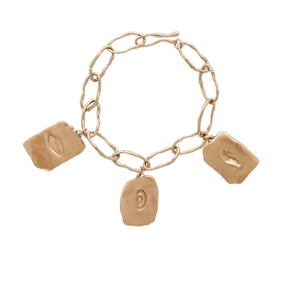 Julie Cohn Design Bronze Reverie Charm Bracelet Hand Lips Ear