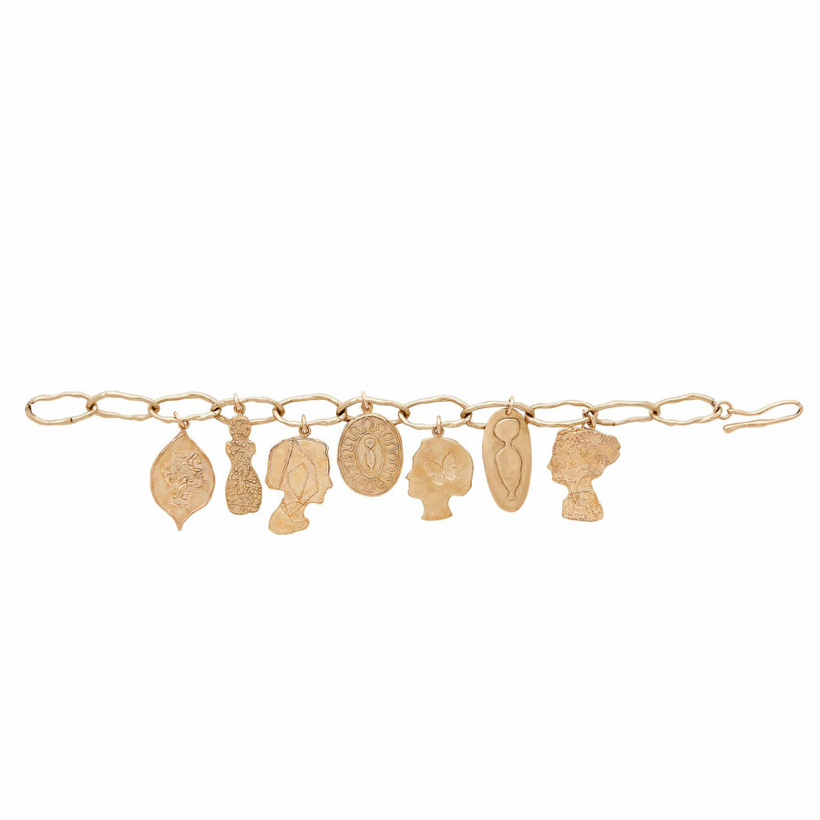 Julie Cohn Design Bronze Stories Charm Bracelet Profiles Silhouette Male Female Cameo Signet