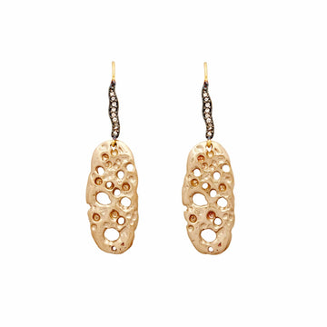 Julie Cohn Design Bronze Coral Slice Earring Pave Diamond Ear Wire