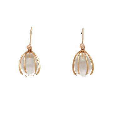 Julie Cohn Design Bronze Cage Earring Crystal Egg
