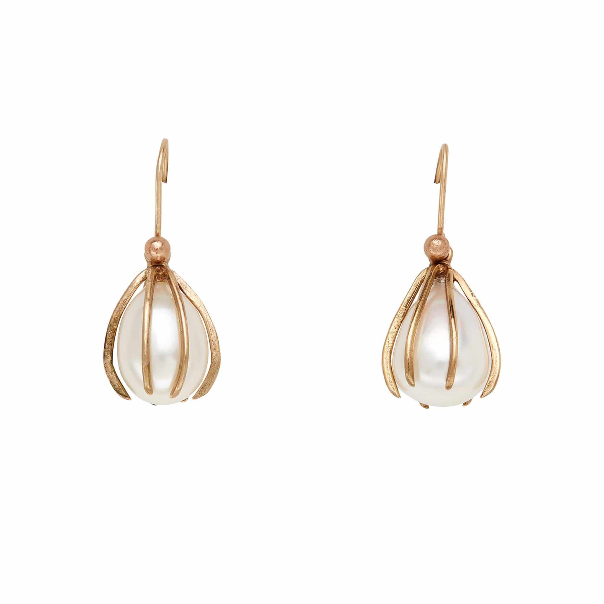 Cage Bronze Pearl Earring
