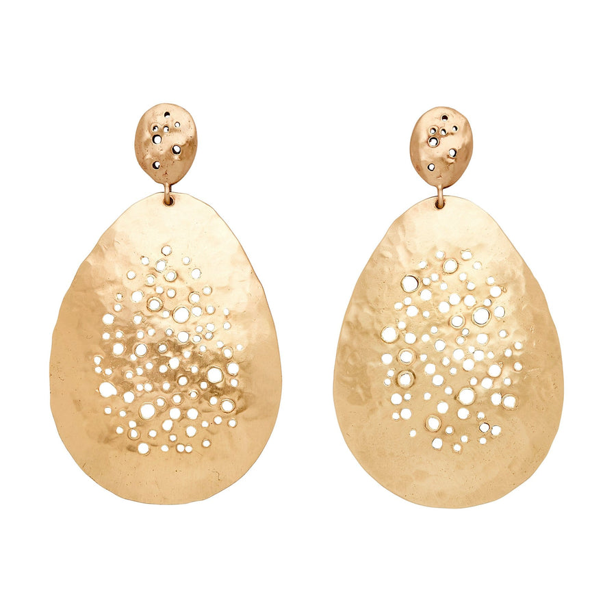 Julie Cohn Design Bronze Hand Fabricated Pointillist Earring