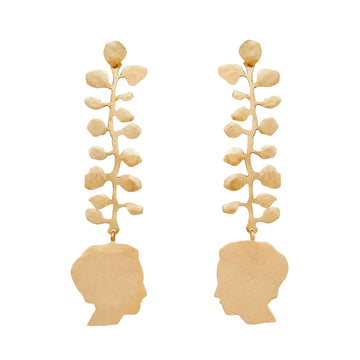 Julie Cohn Design Bronze Hand Fabricated Louise Vine Earring Louise Bourgeois Silhouette Profile