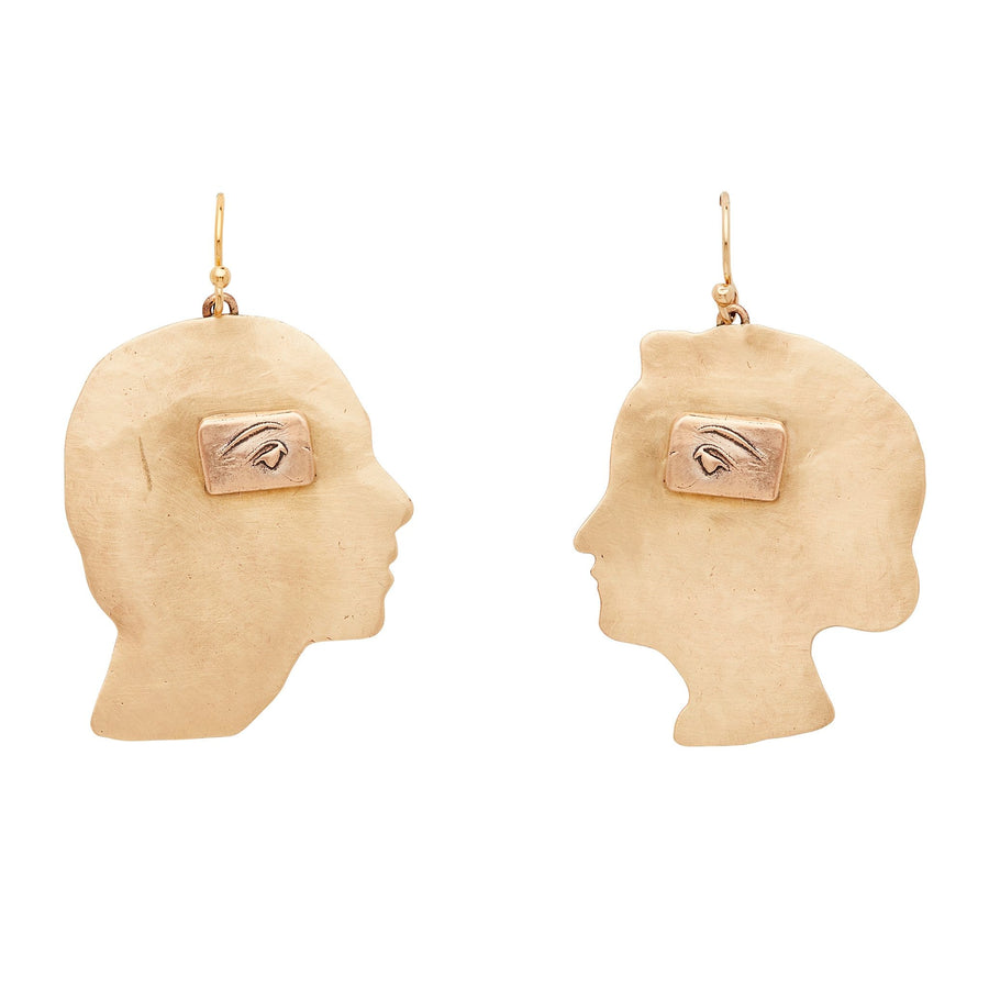 Julie Cohn Design Bronze Mind's Eye Profile Earring Male Female