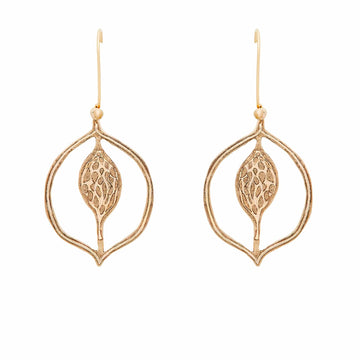 Julie Cohn Design Bronze Magnolia Signet Earring Botanical Flower