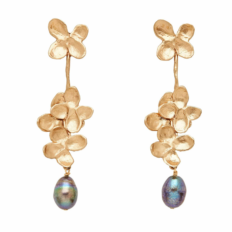 Bronze earrings with grey pearls
