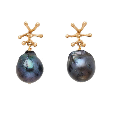 jewelry STAMEN BRONZE MIDNIGHT PEARL EARRINGS JCE281 Julie Cohn Design Artisan Bronze Jewelry Handmade
