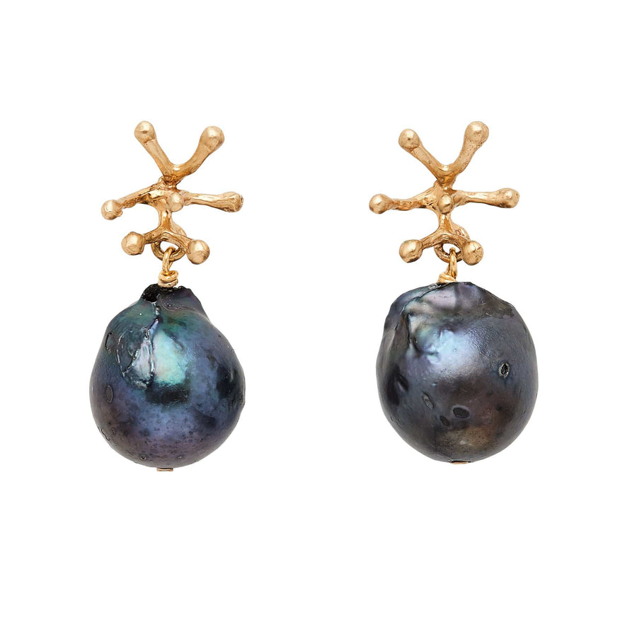 Julie Cohn Design Stamen Bronze and Midnight Pearl Earrings