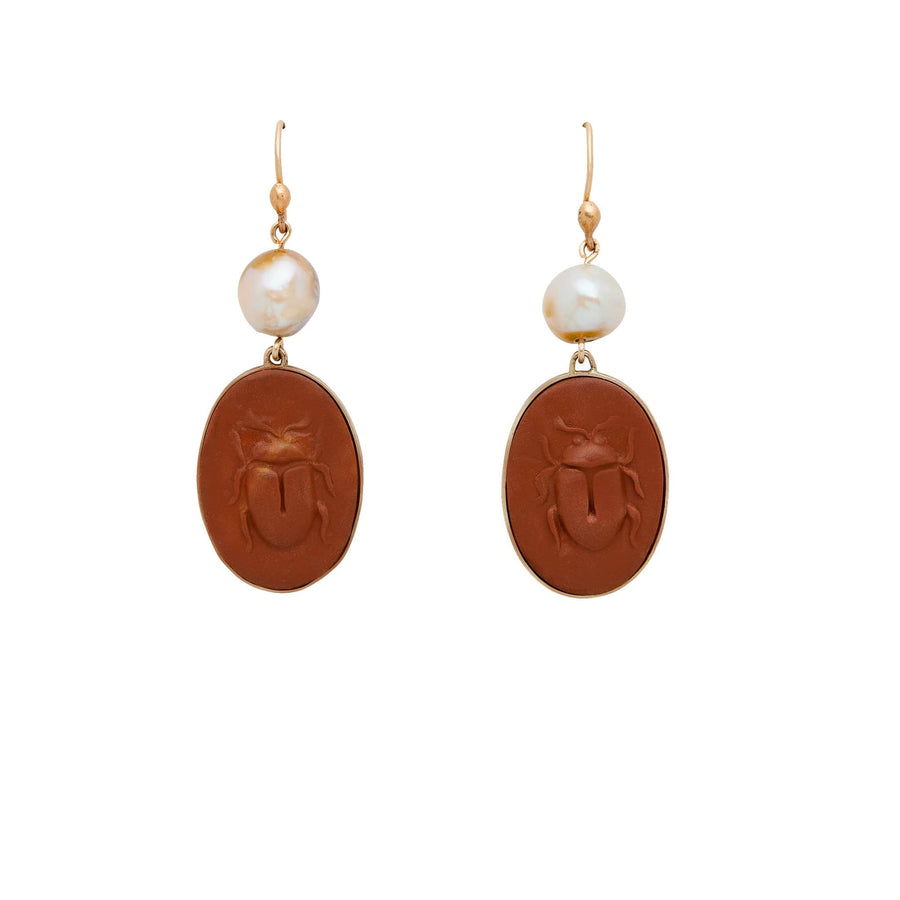 Julie Cohn Design Scarab Clay Cameo and Pearl Earrings