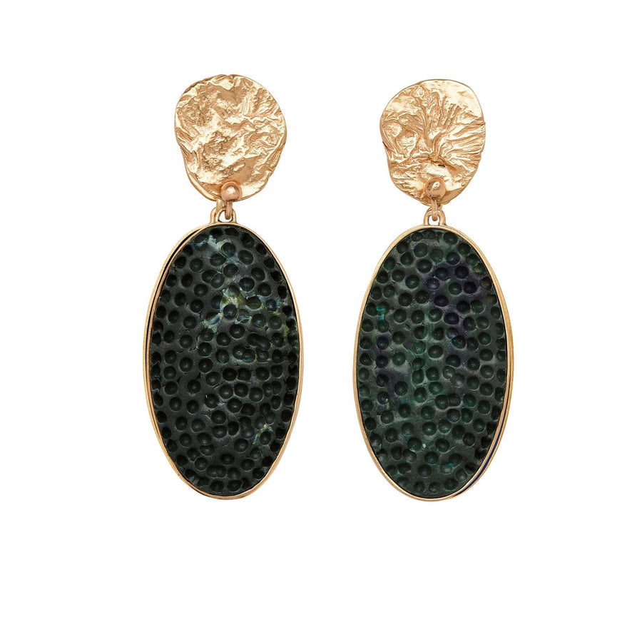 jewelry MOJAVE MALACHITE CLAY BRONZE DROP EARRING JCE310 Julie Cohn Design Artisan Bronze Jewelry Handmade
