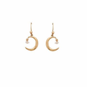 Julie Cohn Design Bronze Moon and Star Earring with Herkimer Diamonds