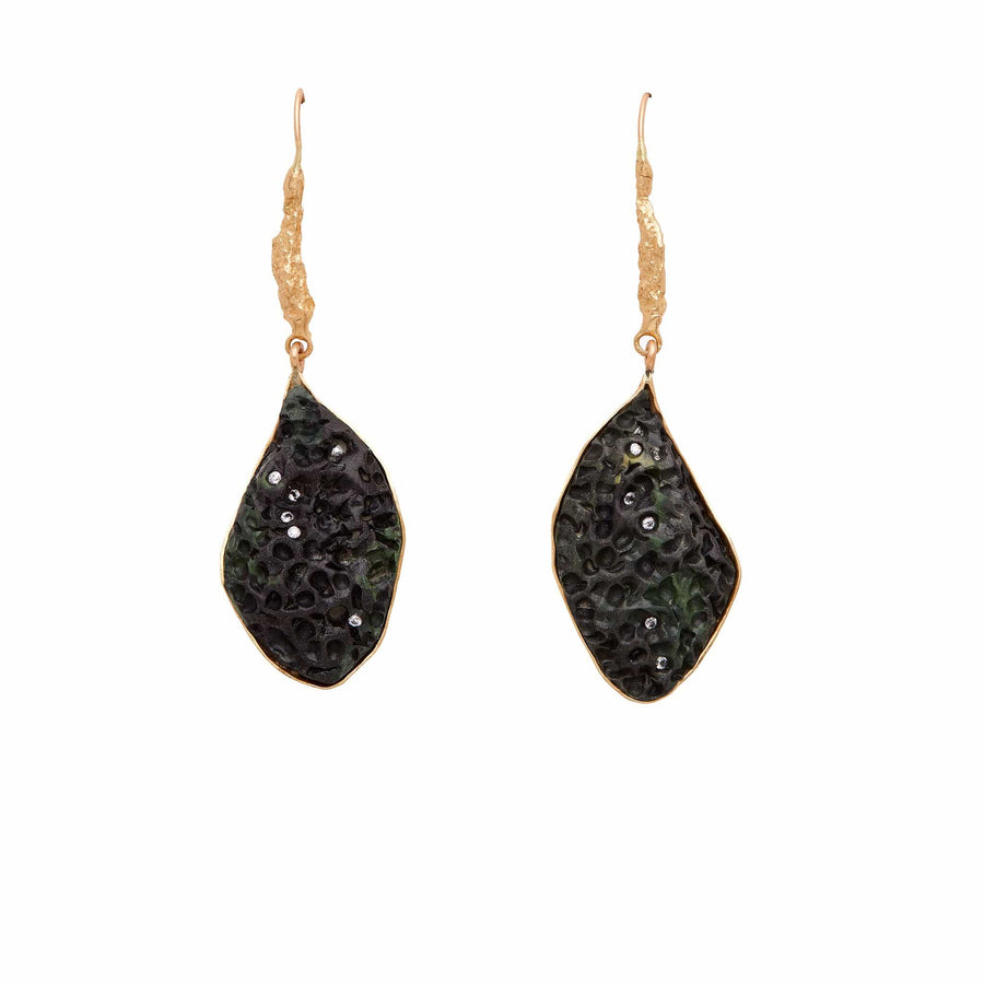 Julie Cohn Design Bronze Milkweed Black Clay Earrings