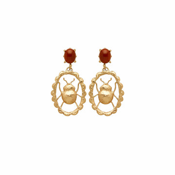 Julie Cohn Design Bronze Beetle Cameo Earrings with Jasper