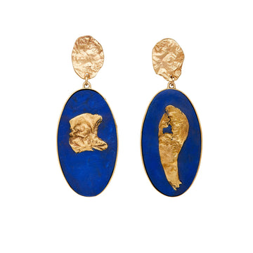 Julie Cohn Design Bronze Mojave Earrings with Blue Clay
