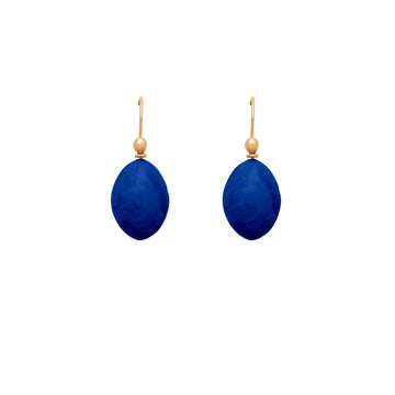 jewelry YVES BLUE CLAY EGG EARRING JCE324 Julie Cohn Design Artisan Bronze Jewelry Handmade