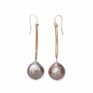 Julie Cohn Design Bronze Twig Pearl Earring