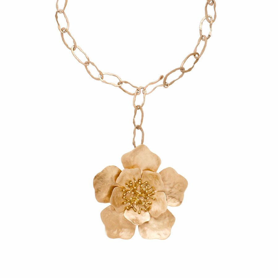 Julie Cohn Design Hand Fabricated Peony Bronze Pendant on Greco Chain Link Necklace