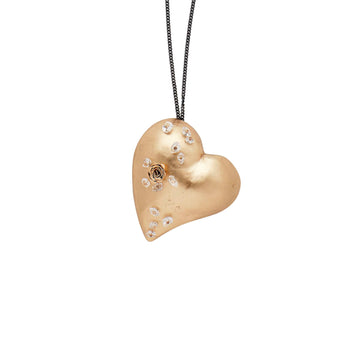 Julie Cohn Design Hand Fabricated Bronze Heart Pendant Roses Herkimer Diamond Sterling Chain Gift
