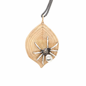 Julie Cohn Design Bronze Web Pendant with Sterling Silver Spider