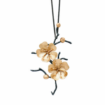 Julie Cohn Design Handcrafted Sterling Silver and Bronze Cherry Blossom Pin and Pendant