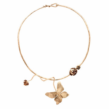 Julie Cohn Design Hand Fabricated Bronze Collar with Butterfly and Roses