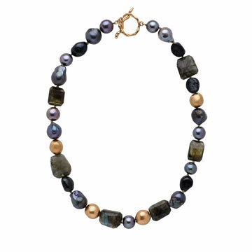 jewelry BLACK ORCHID PEARL NECKLACE JCN380 Julie Cohn Design Artisan Bronze Jewelry Handmade