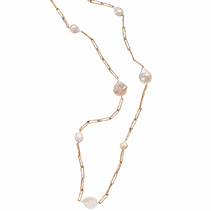 Julie Cohn Design Preza Bronze Link with Ivory Pearl Necklace