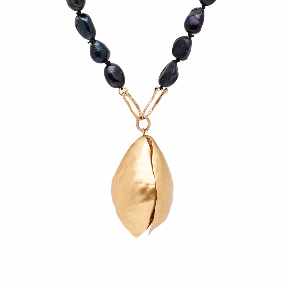 jewelry TULIP BRONZE BLACK PEARL NECKLACE JCN391 Julie Cohn Design Artisan Bronze Jewelry Handmade
