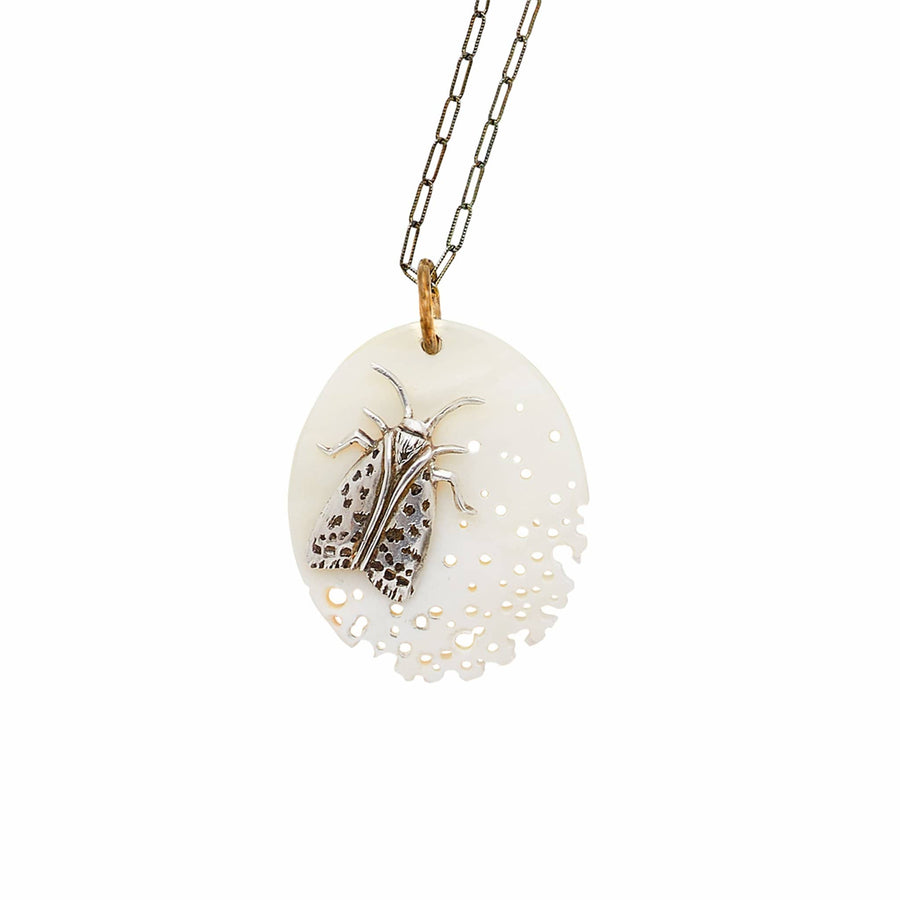 Julie Cohn Design Sterling Silver Moth Cameo Mother of Pearl Pendant Necklace