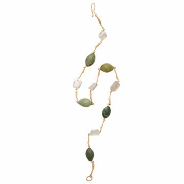 Julie Cohn Design Verde Bronze Twig Link Necklace with Moonstone and Olive Green Clay Eggs