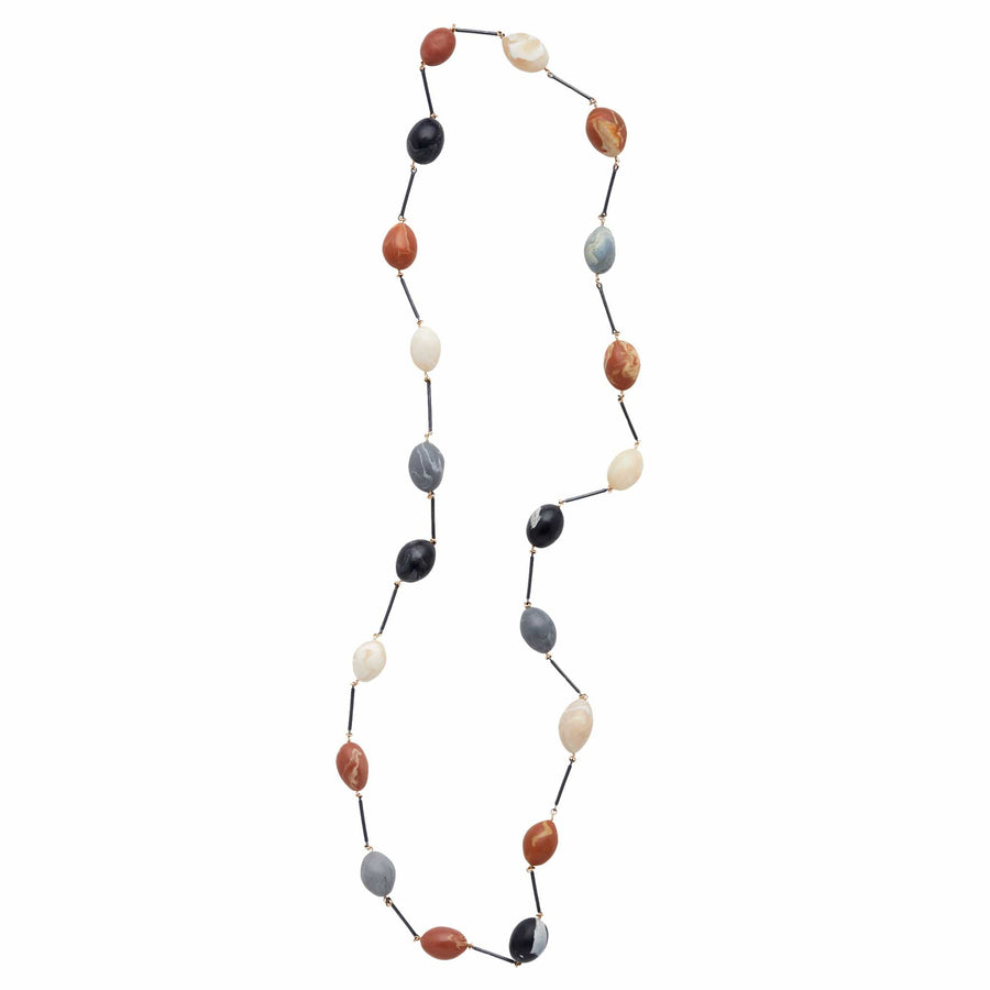 Julie Cohn Design Fresco Sterling Link Necklace with Multi Color Clay Eggs