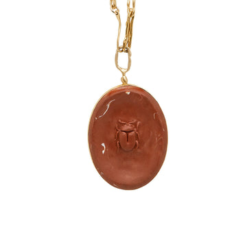 Julie Cohn Design Carnelian Clay Cameo Pendant on Bronze Chain