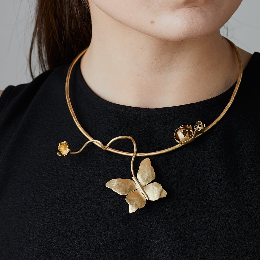 BUTTERFLY BRONZE COLLAR NECKLACE