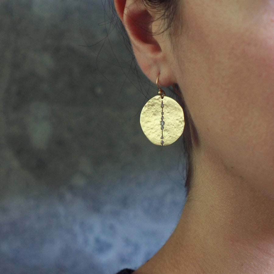 jewelry ORBIT BRONZE EARRING JCE280 Julie Cohn Design Artisan Bronze Jewelry Handmade