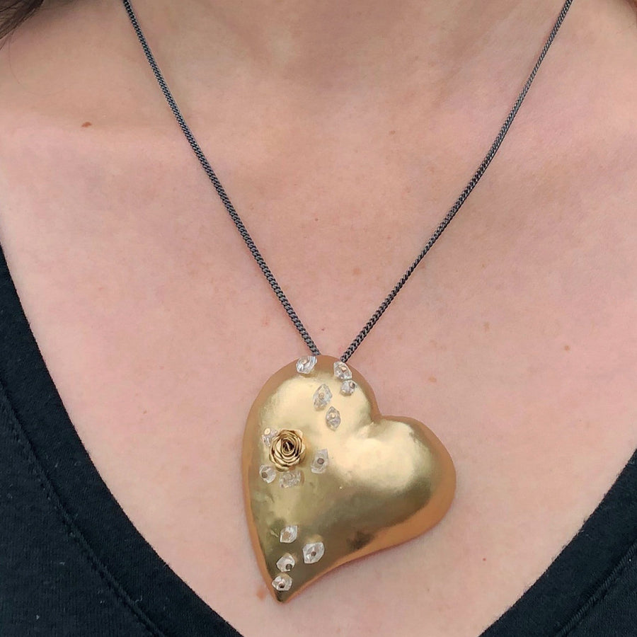 HEART BRONZE PENDANT NECKLACE