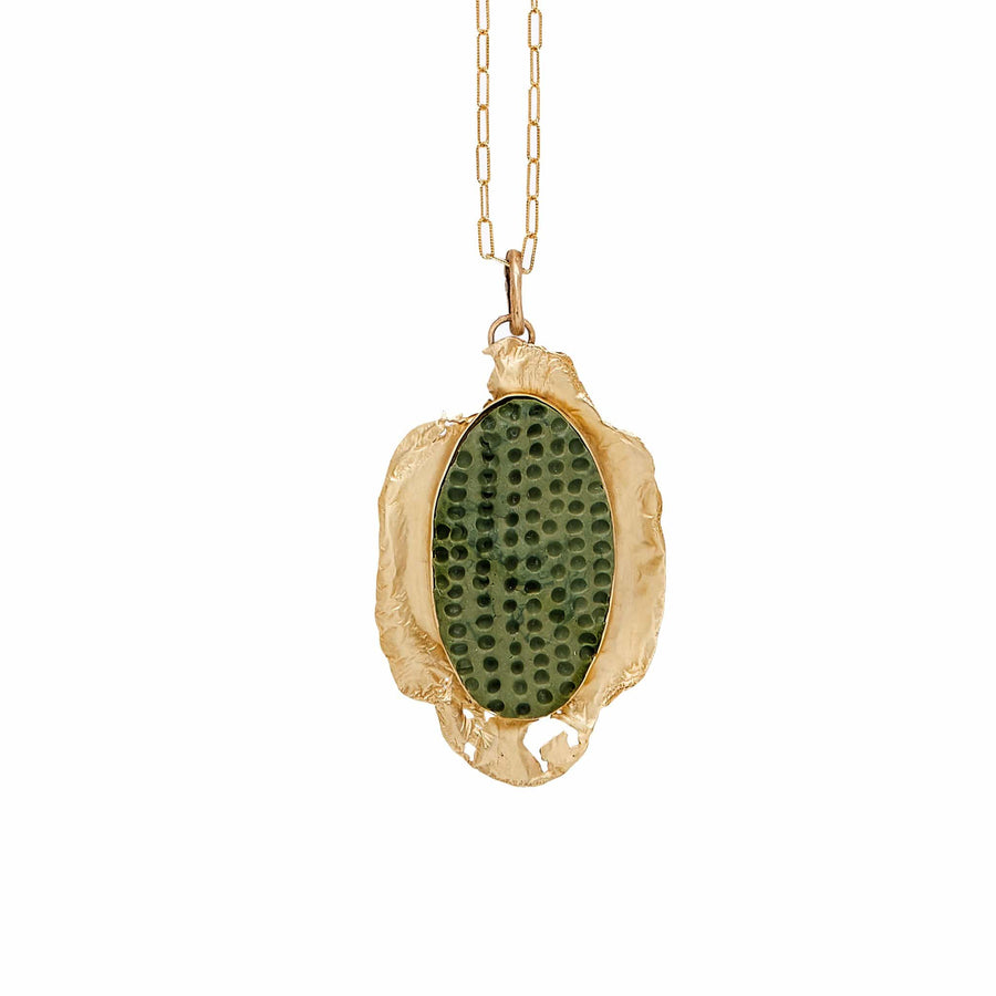 Julie Cohn Design Bronze Quatre Foil Pendant with Green Clay