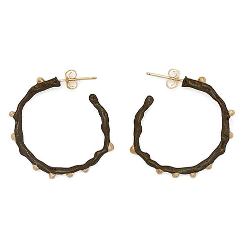 Black Twig Hoop Earring
