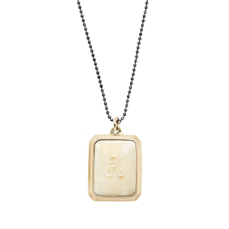 Cream SIGNET BRONZE RECTANGLE NECKLACE CLAY INITIAL JCN452 Julie Cohn Design Artisan Bronze Jewelry Handmade