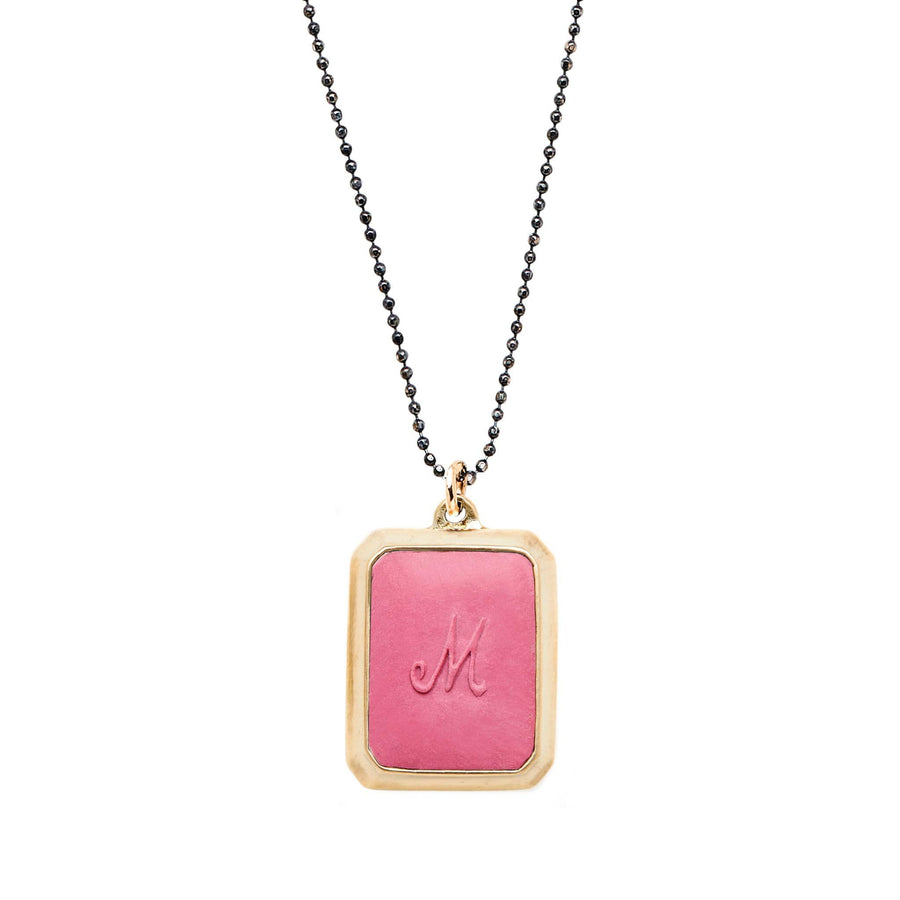 Rouge SIGNET BRONZE RECTANGLE NECKLACE CLAY INITIAL JCN449 Julie Cohn Design Artisan Bronze Jewelry Handmade