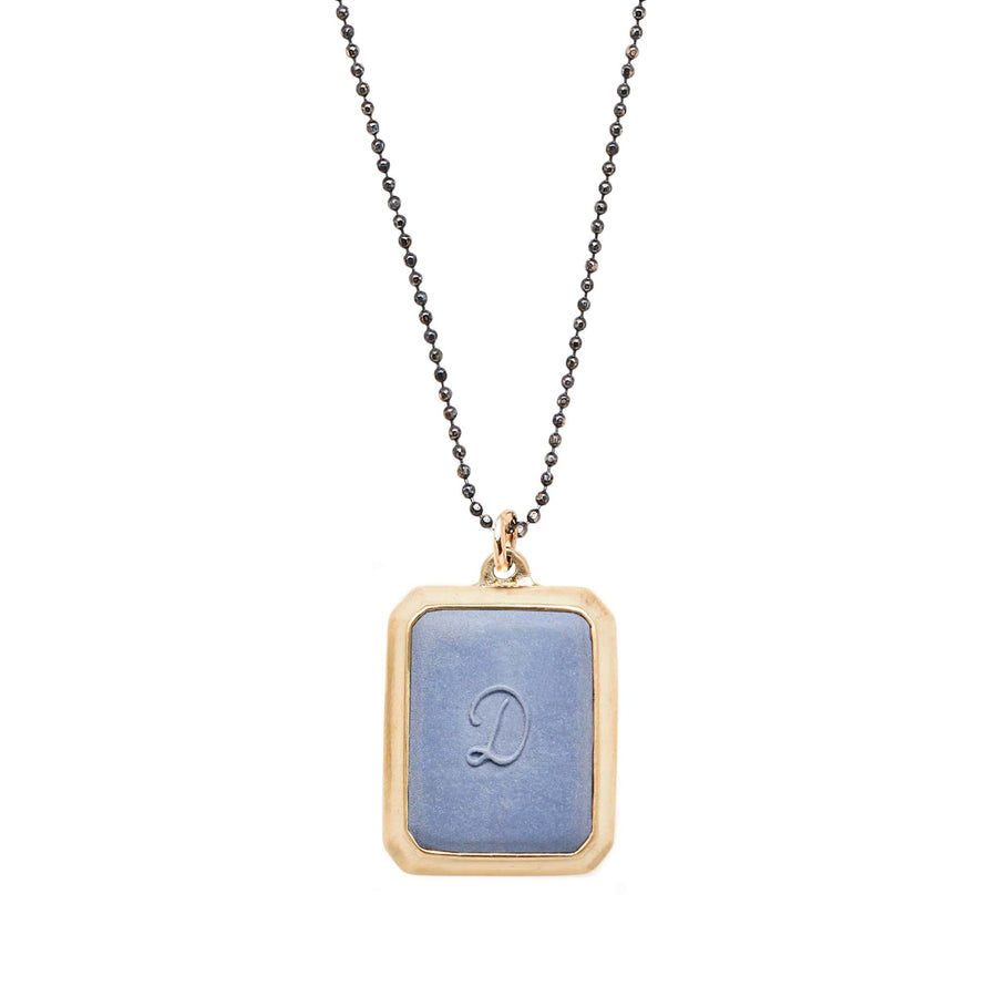 Wedgewood SIGNET BRONZE RECTANGLE NECKLACE CLAY INITIAL JCN451 Julie Cohn Design Artisan Bronze Jewelry Handmade