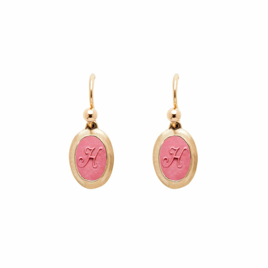 Rouge SIGNET BRONZE OVAL EARRING WITH CLAY INITIAL JCE348 Julie Cohn Design Artisan Bronze Jewelry Handmade